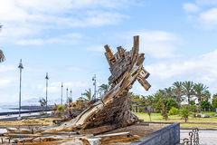 Remains of old shipwreck in a park in Arrecife Royalty Free Stock Images