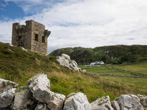 Remains of old stone building in the fields of Maghery, Donegal Royalty Free Stock Photography