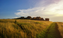 The remains of an old stone sanctuary near the Big Allaki lake in Southern Urals, Russia. Royalty Free Stock Photography