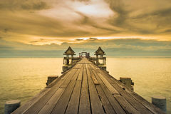 Remains of old temple jutting into the sea Stock Image