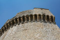 Remains of the old tower of the fortress wall in Dubrovnik royalty free stock photography