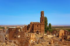 Remains of the old town of Belchite, Spain. A view of the remains of the old town of Belchite, Spain, destroyed during the Spanish Civil War and abandoned from stock photo