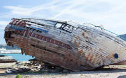 Remains of the old wooden ship Royalty Free Stock Images