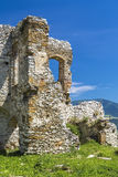 Remains of the outbuildings of an ancient fortress. The remains of the outbuildings of an ancient fortress. Spissky castle. Slovakia stock photo