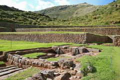 The remains of outdoor water channels of Tipon, archaeological site in the Sacred Valley, Cusco, Peru. The remains of outdoor water channels of Tipon royalty free stock photos