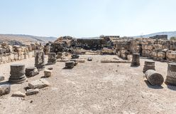 The remains of the palace hall in ruins of the Greek - Roman city of the 3rd century BC - the 8th century AD Hippus - Susita on th. E Golan Heights near the Sea stock image