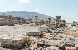The remains of the palace hall in ruins of the Greek - Roman city of the 3rd century BC - the 8th century AD Hippus - Susita on th. E Golan Heights near the Sea royalty free stock photo