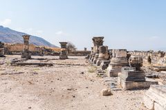 The remains of the palace hall in ruins of the Greek - Roman city of the 3rd century BC - the 8th century AD Hippus - Susita on th. E Golan Heights near the Sea royalty free stock photos