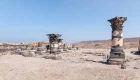 The remains of the palace hall in ruins of the Greek - Roman city of the 3rd century BC - the 8th century AD Hippus - Susita on th. E Golan Heights near the Sea royalty free stock photography