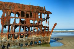 Peter Iredale Ship Wreck at Low Tide royalty free stock image