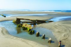 Peter Iredale Shipwreck at Low Tide royalty free stock photos