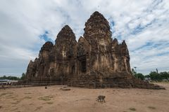 The remains of the Phra Prang Sam Yot. Ancient Ruins in the city of Lop Buri, Thailand Royalty Free Stock Photography