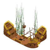 Remains of pirate ship with algae, vector isolated Royalty Free Stock Photo