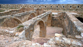 The remains of the protective fortifications in the centre of Rethymnon in Crete. Greece Royalty Free Stock Images