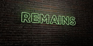 REMAINS -Realistic Neon Sign on Brick Wall background - 3D rendered royalty free stock image Stock Image