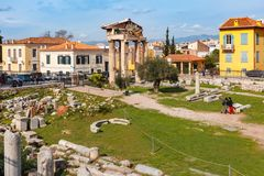 Remains of the Roman Agora in Athens, Greece Royalty Free Stock Photography