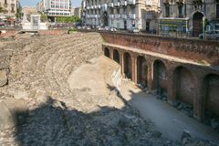 Remains of the Roman amphitheatre in the historic centre of Catania, Sicily island, Italy Royalty Free Stock Photo