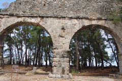 Remains of the Roman aqueduct that served the ancient city of  P Royalty Free Stock Photo