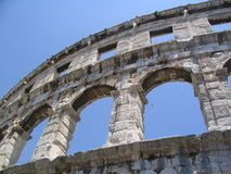 Remains of Roman Empire. The ancient colosseum in Pula, Croatia Royalty Free Stock Photo
