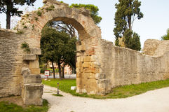 Remains of Roman Empire Fano. Door of the herd remains of Roman Empire fano italy Stock Photo