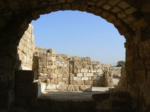 Remains of the Roman harbor structures. In Caesarea, Israel stock photos