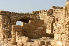 Remains of the Roman harbor structures. In Caesarea, Israel royalty free stock photo