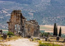 Remains of Roman monuments Volubilis, Morocco Royalty Free Stock Photos