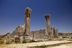 Remains of Roman monuments Volubilis, Morocco Stock Photo
