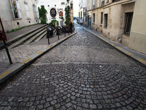 Remains of Roman rampart of Paris on Rue de la Colombe Stock Image