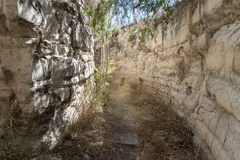 The remains of the ruined fortress walls in the old city of Safed in Israel Royalty Free Stock Images
