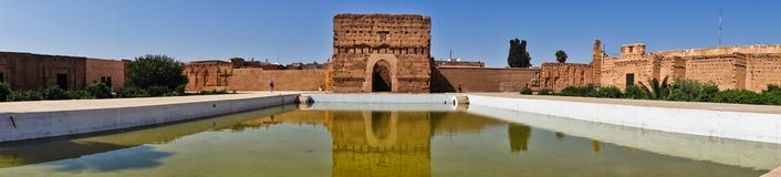 Remains of a ruined 16th century Saadian Dynasty El Badi palace located in Marrakesh, Morocco. Africa Royalty Free Stock Photography