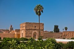 Remains of a ruined 16th century Saadian Dynasty El Badi palace located in Marrakesh, Morocco. Africa Royalty Free Stock Image