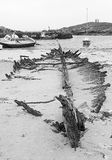 Remains of sailing boat wreck on Island of Tiree Royalty Free Stock Image