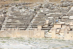 Remains of seats in Theater of Dionysus Royalty Free Stock Images