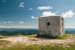 Remains of second world war bunker on the top of the mountain. In Slovenia Stock Photo