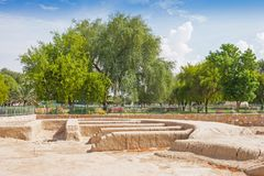 Remains of a Settlement in Hili Archaeological Park. A Bronze Age site in Al Ain in the Emirate of Abu Dhabi, United Arab Emirates royalty free stock photos