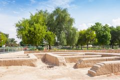 Remains of a Settlement in Hili Archaeological Park. A Bronze Age site in Al Ain in the Emirate of Abu Dhabi, United Arab Emirates royalty free stock images