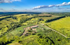 Remains of a Soviet collective farm in Kursk region of Russia Royalty Free Stock Photo
