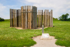 Remains of the stockade wall at Cahokia Mounds Historic Site. In front of on the 80 mounds at the site Royalty Free Stock Photo