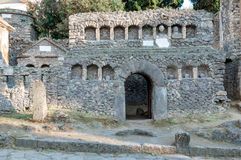 Remains of stone grave at necropoli of Pompeii, Italy Stock Photos
