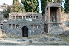 Remains of stone graves at necropoli of Pompei Stock Photography