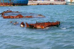 Remains of a wreck in the Black Sea Royalty Free Stock Photo