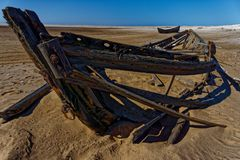 Remains of a surf boat at Meob Bay Whaling Station royalty free stock image