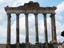 Remains of Tempio di Saturno in Foro Romano. Rome, Italy royalty free stock images
