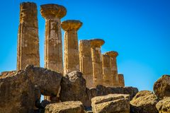 Remains of the Temple of Heracles in valley of the temples, Agrigento-Sicily royalty free stock images