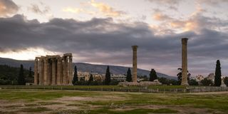 Temple of Olympian Zeus in Athens. Remains of the Temple of Olympian Zeus in centre of Athens, Greece Royalty Free Stock Image
