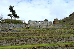 The Remains of Temple of the Three Window in Machu Picchu Inca Citadel, Archaeological site in Cusco, Peru. South America adventure agricultural aguas amazing stock photos