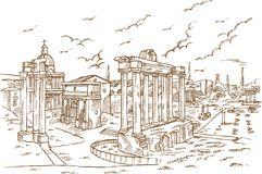Remains of temples in Foro Romano, Rome, Italy Stock Photography
