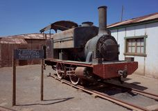 Humberstone Saltpeter Worksm in northern Chile. The remains of a train in the abandoned Humberstone saltpeter works. This abandoned nitrate town was extremely stock photos