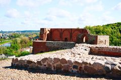 Remains of the Upper Castle on the Gediminas Hill in Vilnius Royalty Free Stock Image